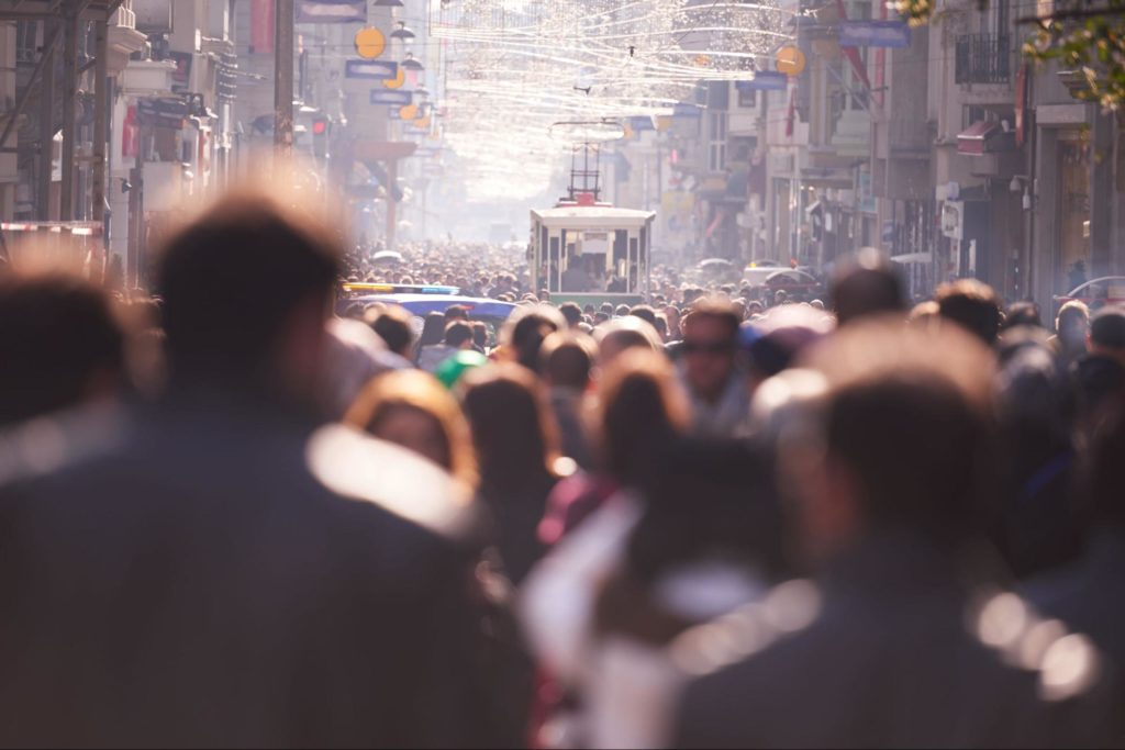Hazy Crowd of people on a street